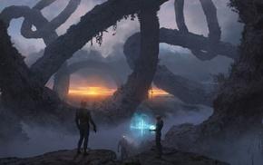 artwork, planet, sunset, science fiction
