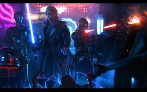 artwork, lightsaber, Luke Skywalker, Star Wars, R2, D2