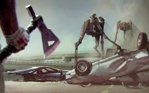 robot, hunter, crash