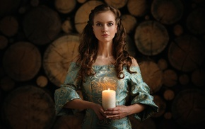 long hair, bare shoulders, wood, depth of field, blue dress, brunette