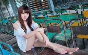 holding knees, depth of field, girl, model, white dress, sitting