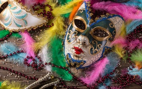 keys, feathers, wooden surface, venetian masks, colorful, pearl necklace