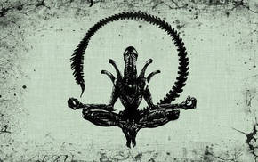 black, Alien movie, aliens, Xenomorph, simple background, meditation