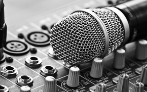 depth of field, monochrome, closeup, buttons, photography, mixing consoles