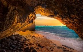 sand, sunset, sea, nature, island, beach