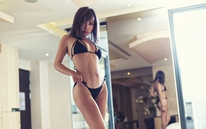 portrait, black bikinis, Asian, model, girl, mirror