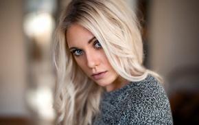 blue eyes, girl, model, sweater, portrait, Sara Magdalena Deichsel