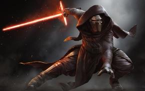 digital art, lightsaber, artwork, Kylo Ren, Star Wars The Force Awakens, Star Wars