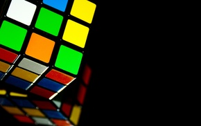 colorful, cube, Rubiks Cube, puzzles, reflection, simple background