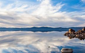 lake, nature, landscape, clouds, dual monitors, reflection