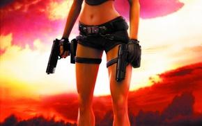 portrait display, video games, gun, artwork, Lara Croft, Tomb Raider