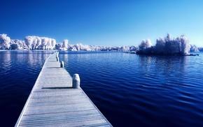 water, seasons, winter, landscape, snow