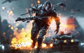 bokeh, military, war, soldier, assault rifle, rain