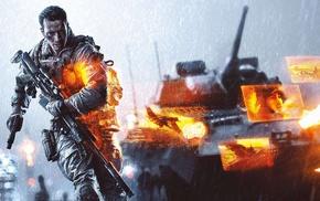 video games, assault rifle, military, rain, multiple display, war