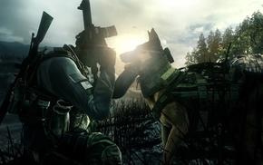 dog, assault rifle, video games, military, gun, soldier