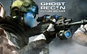 dual monitors, military, video games, special forces, Ghost Recon, assault rifle