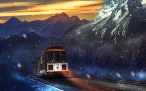 tram, Martina Stipan, vehicle, artwork, mountains