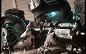 portrait display, special forces, assault rifle, military, video games, Ghost Recon