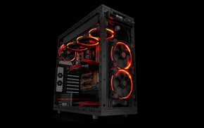 Gigabyte, Thermaltake, hardware, PC cases, cooling fan, simple background