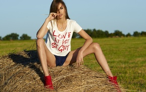 sitting, shorts, spread legs, hay, sneakers, model