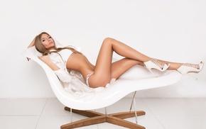 high heels, blonde, model, ass, girl, looking at viewer