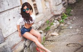 girl, Viktoria Gorina, sunglasses, open mouth, high heels, jean shorts
