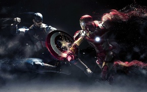 battle, Captain America, Iron Man