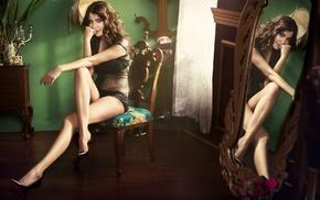 mirror, legs, girl, see, through clothing, high heels