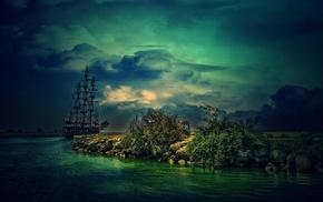 sailing ship, fantasy art, ship, sea, clouds