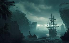 artwork, ship, fantasy art