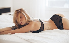 black bras, tattoo, girl, ass, lingerie, lying on front