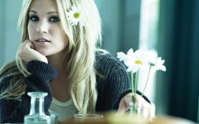 girl, flowers, singer, celebrity, sweater, blonde