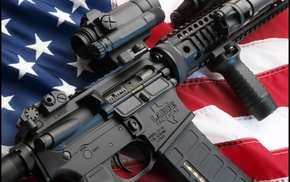 weapon, assault rifle, American flag, USA, gun, AR