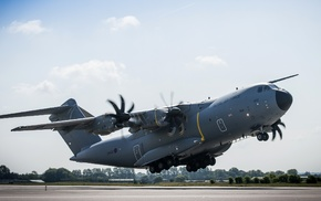 military aircraft, take, off, runway, Royal Airforce, Airbus A400M Atlas