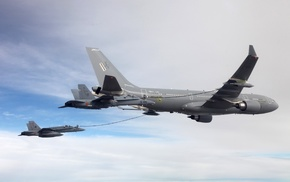 aircraft, Airbus A330 MRTT, Royal Airforce, mid, air refueling, McDonnell Douglas FA