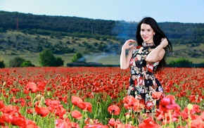 looking at viewer, girl outdoors, flowers, poppies, Lola Marron, black hair