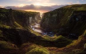 landscape, nature, clouds, sunset, Iceland, river