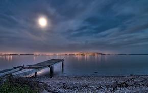 lights, photography, sea, coast, Moon, water
