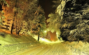 lights, snow, trees, photography, night, road