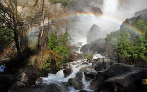 mist, rainbows, landscape, shrubs, Yosemite National Park, trees