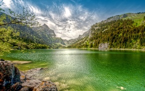 water, landscape, summer, lake, clouds, nature