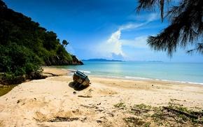 sea, trees, landscape, sand, hills, boat