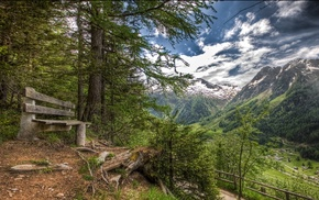 Alps, village, bench, landscape, nature, forest