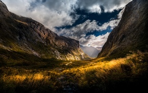 mountain pass, yellow, dirt road, mountains, nature, clouds