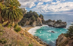beach, nature, sea, clouds, rock, Mc Way Falls