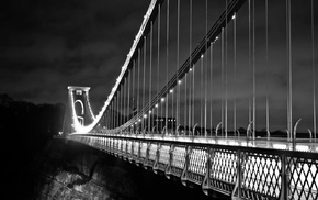 bridge, Clifton Suspension Bridge, monochrome, Bristol