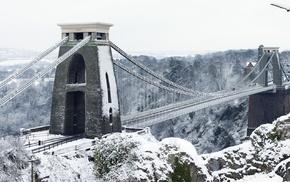 bridge, England, Bristol, Clifton Suspension Bridge, winter