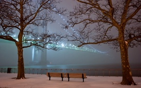 bridge, Verrazano, Narrows Bridge, mist, bench