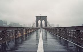bridge, Brooklyn Bridge, architecture, New York City