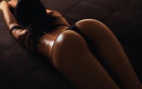 black panties, ass, back, model, legs, lingerie